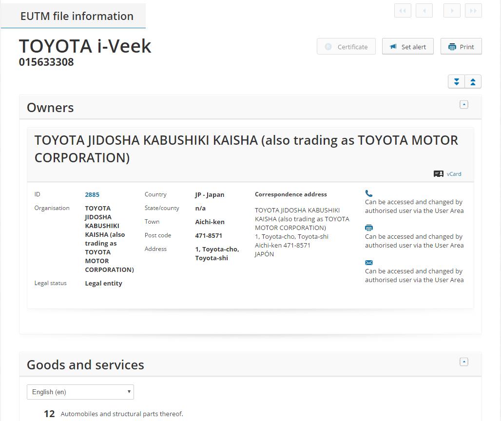 Toyota i-veek Trademark 3