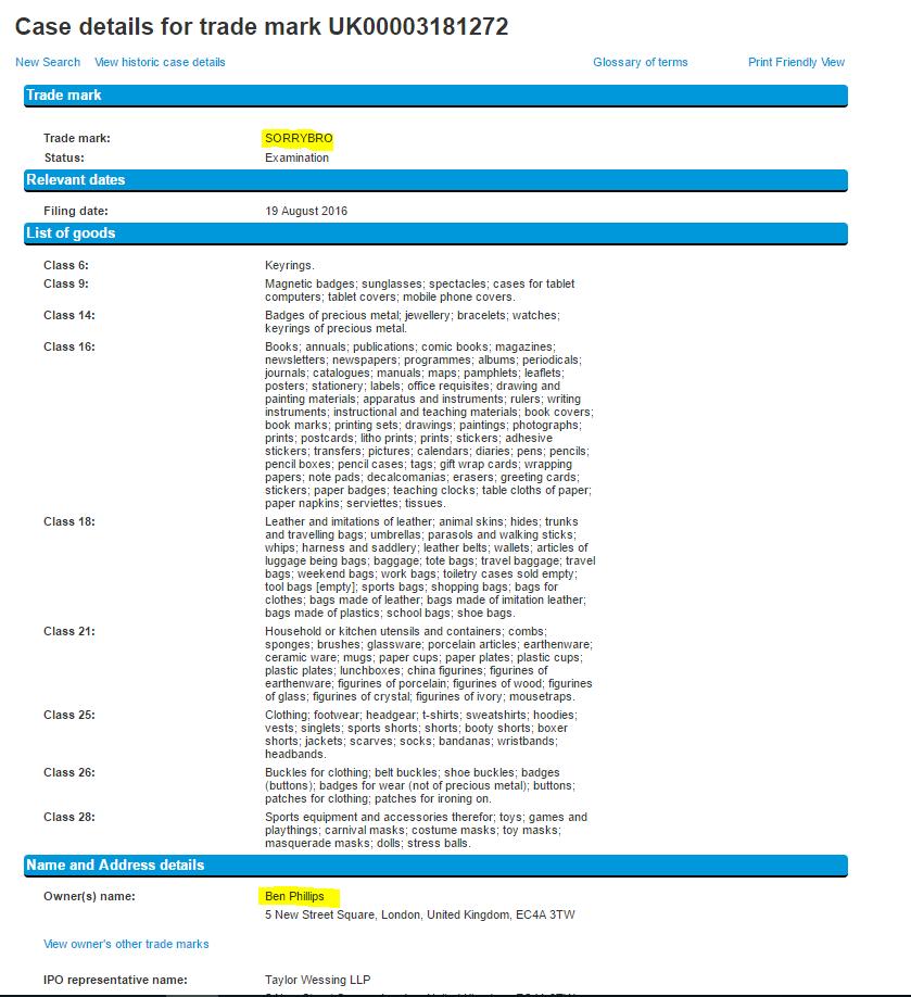 Ben Phillips Sorry Bro Trademark Application