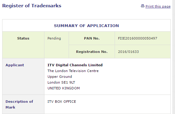 ITV Box Office Trademark Application