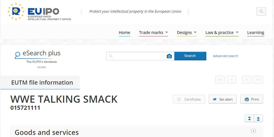 WWE talking smack trademark