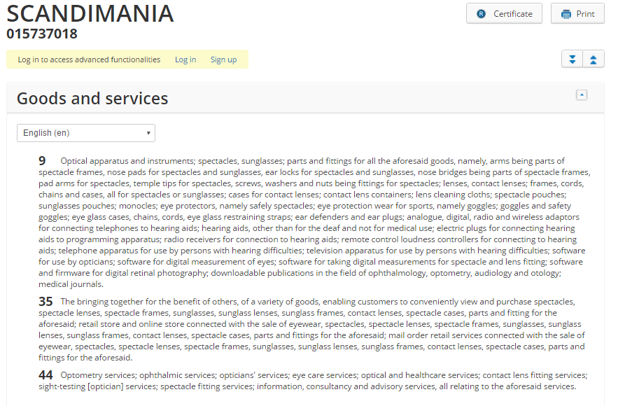 specsavers scandimania trademark