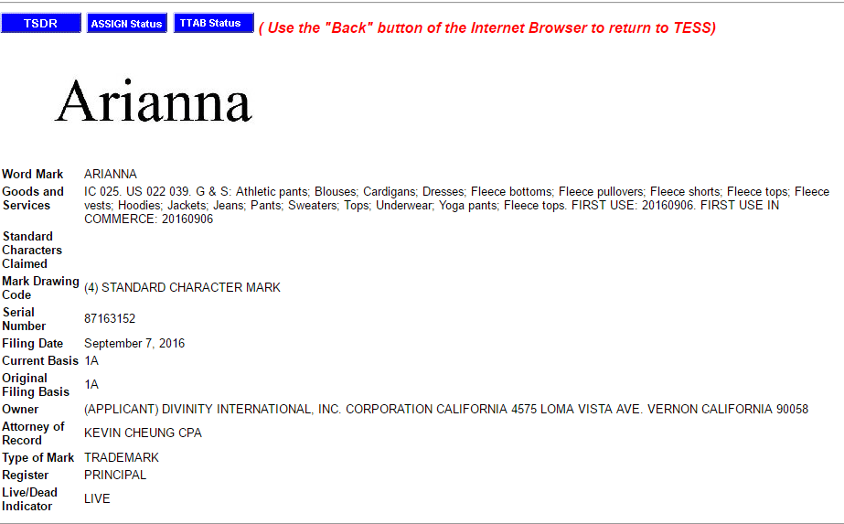 Arianna Trademark Application