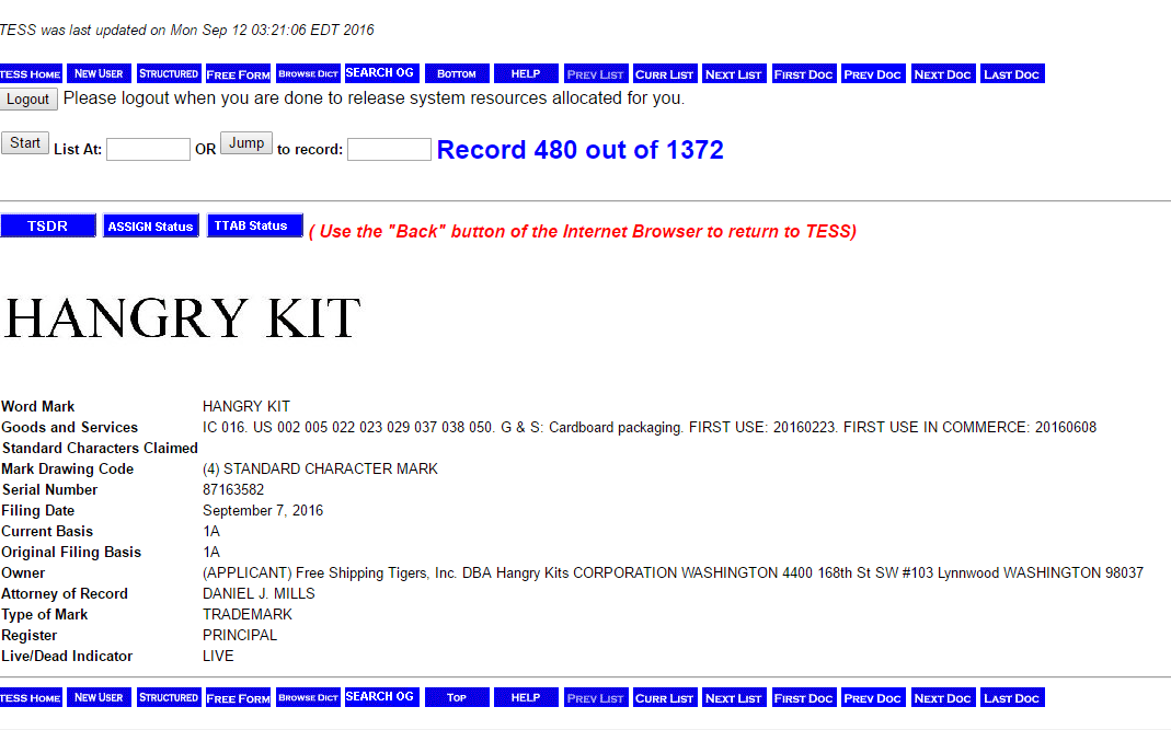 Hangry Kit Trademark Application
