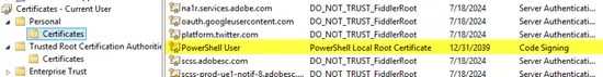 PowerShell User certificate in the Personal store