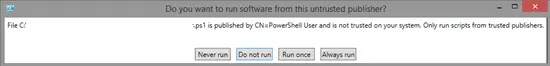 Powershell prompting whether or not to run the signed PowerShell script
