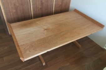 cherry coffee table trestle base handmade