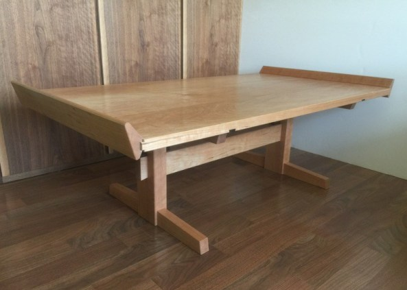 cherry coffee table trestle base