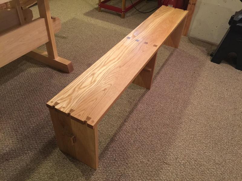 white oak dovetail bench