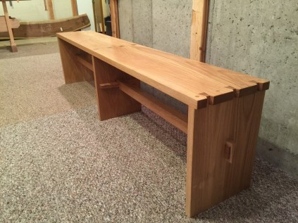 white oak dovetail bench