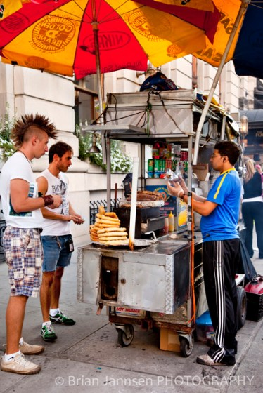 Hair Style Street Vendor Corn Dogs New York City