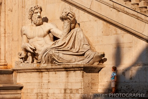 Young Boy Giant Statue Piazza Campidoglio Rome Italy