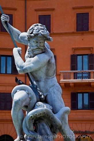 Neptune Fountain Piazza Navona Rome Italy