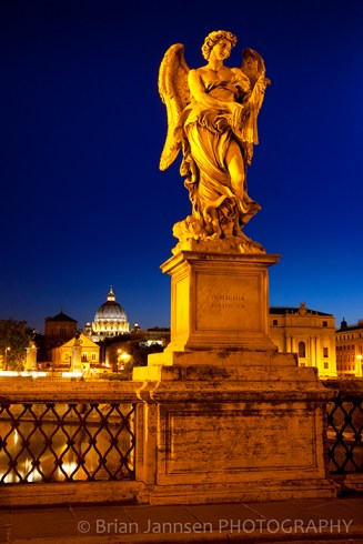 Angel Statue Sculpture Ponte Sant Angelo Rome Italy Twilight