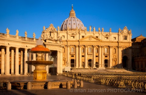 St Peters Basilica Piazza Fountain Vatican Cathedral Catholic Rome Italy