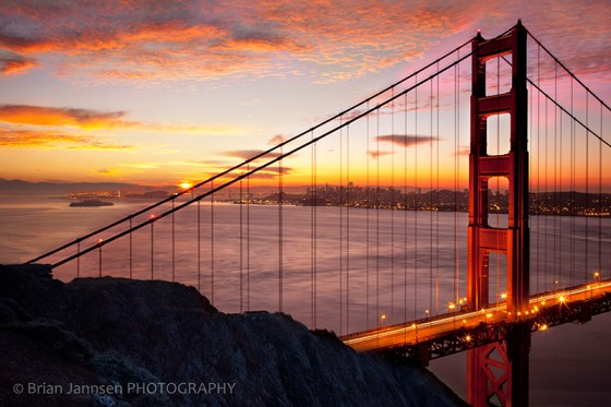 Golden Gate Bridge San Francisco California Bay sunrise