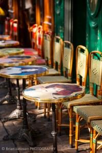 Cafe tables chairs Place du Tertre Montmartre Paris France