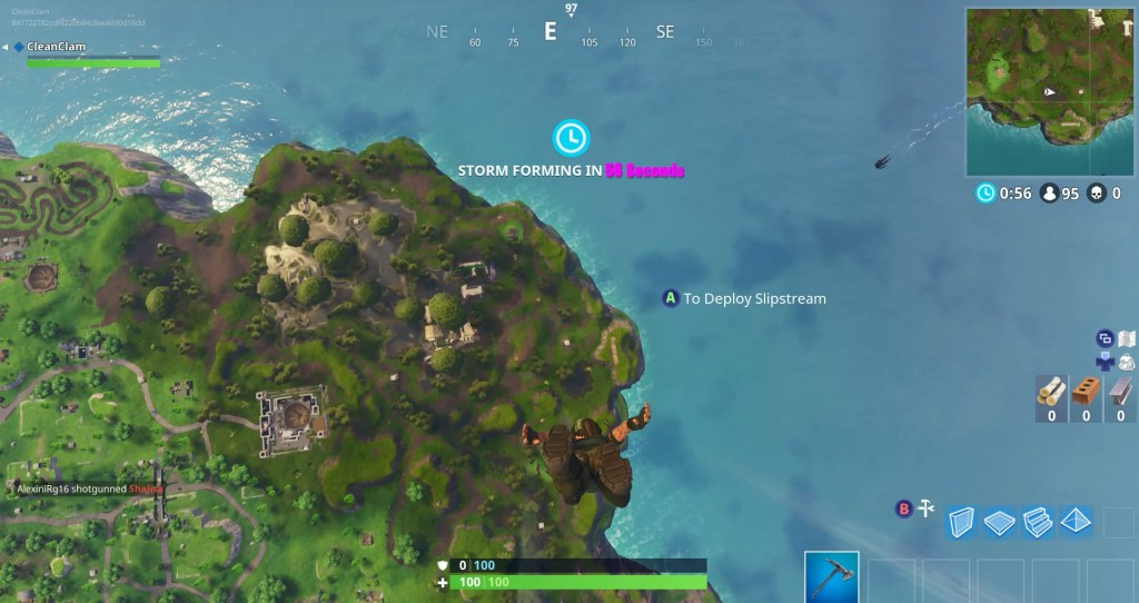 Dropping into the game Fortnite