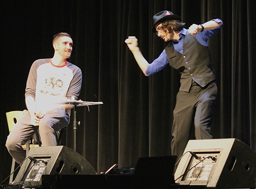 College magician Brian Miller on stage at University of Maine Fort Kent April 22 2016