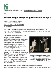 Fiddlehead Focus review of college magician Brian Miller at University of Maine Fort Kent