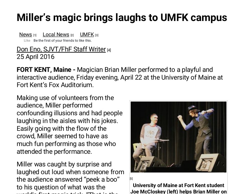 Miller's magic brings laughs to UMFK campus