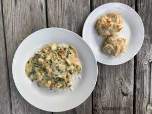 Chicken and Spinach Gravy with Drop Biscuits