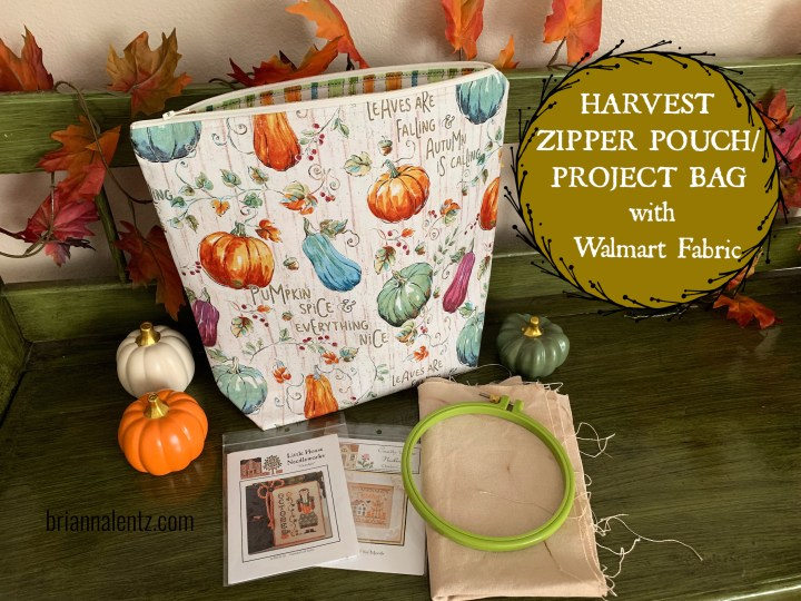 Harvest Zipper Pouch or Project Bag Using Wal Mart Fabric