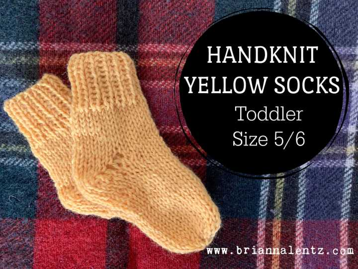 Handknit Yellow Socks for my Toddler Size 5/6