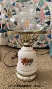 Milk Glass Electric Lamp with Flowers