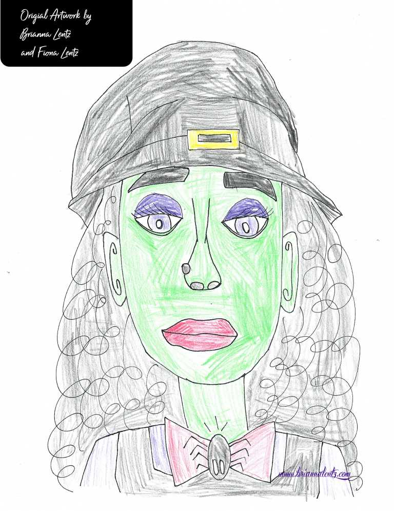 Fiona Coloring of Portrait of a Witch Brianna Lentz with label