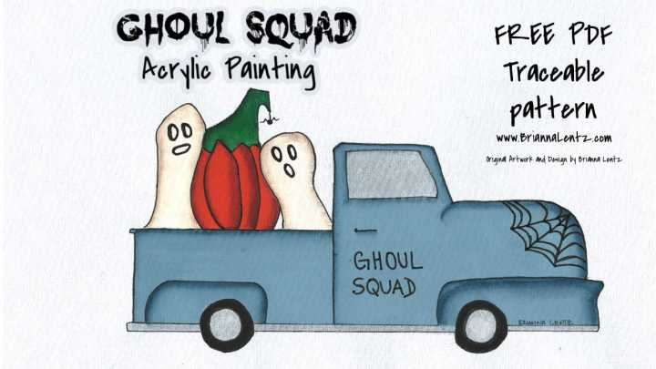 Free PDF Traceable Pattern 'Ghoul Squad' Vintage Truck By Brianna Lentz for Acrylic or Decorative Painting, Embroidery, Punch Needle and More