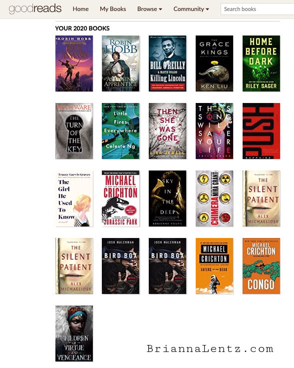 Graphic of All the Books Brianna Lentz Read in 2020 Using Goodreads