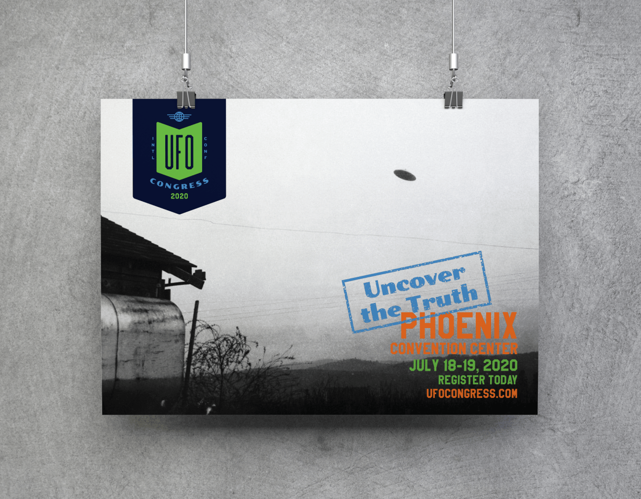 UFO poster containing black and white picture and text advertising conference