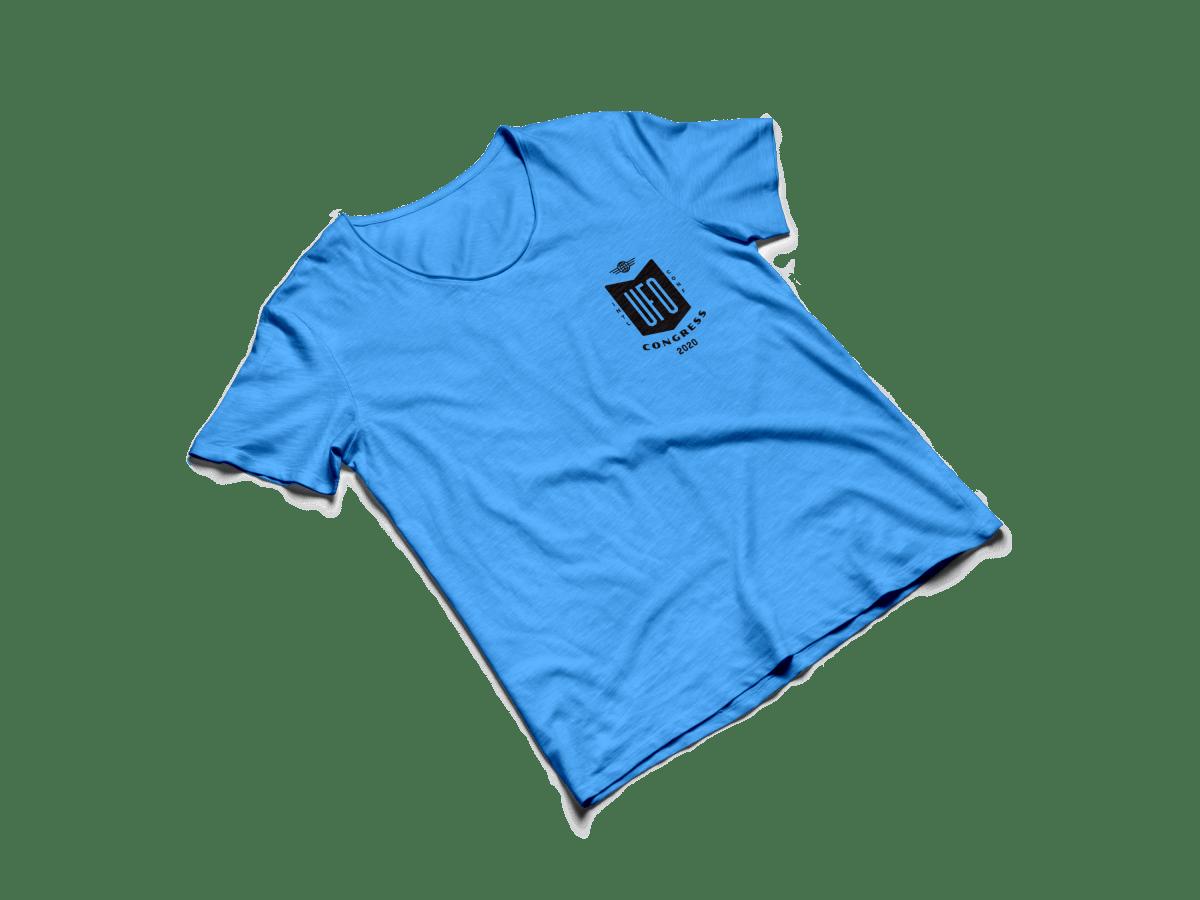 blue shirt with UFO logo on frocket