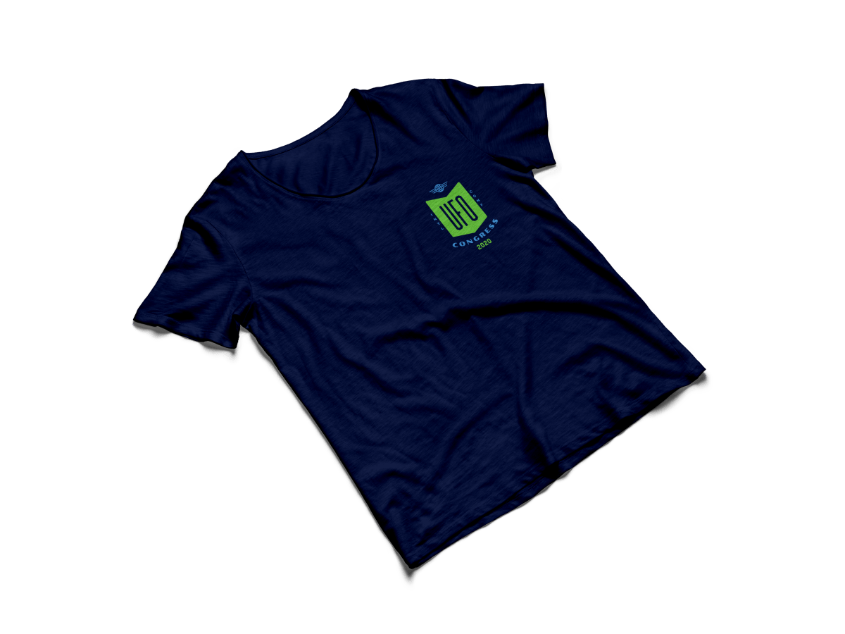 navy shirt with UFO logo on frocket
