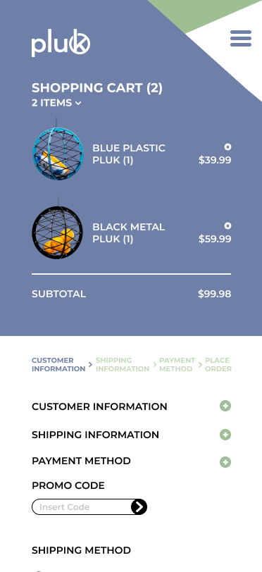 PLUK mobile site checkout with dropdown screen