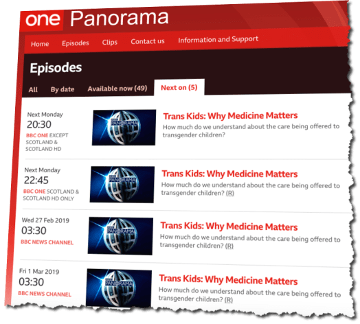 BBC Panorama schedule