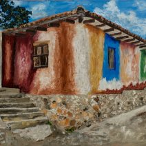 House of Many Colors, Oil on linen, 16x24, $960