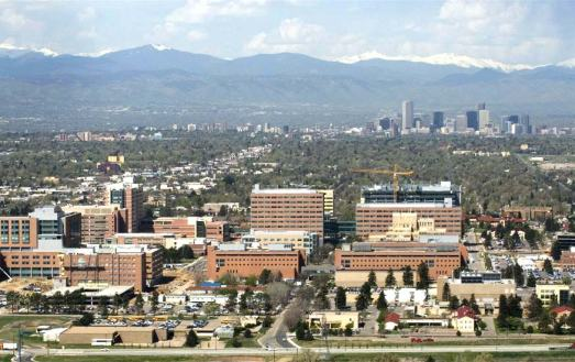 Arial photo of Aurora, CO looking toward the rocky mountains