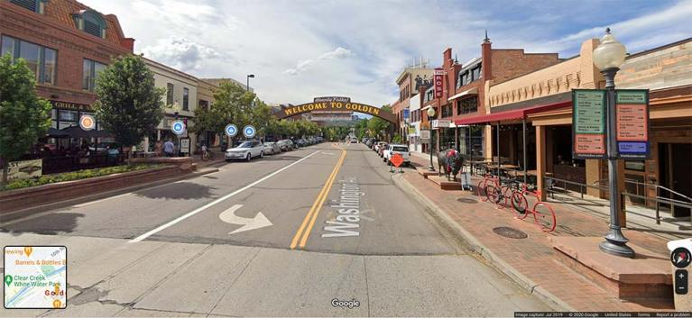 street view of downtown Golden, Colorado