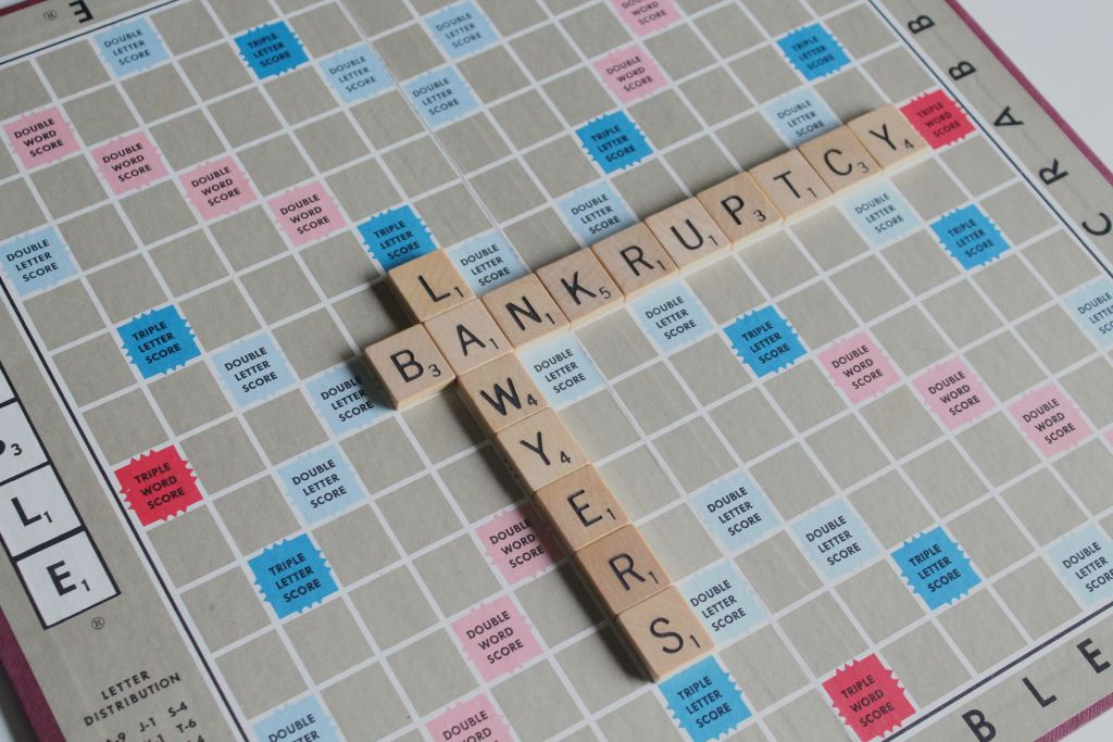 Scabble Board that spells out Bankruptcy Lawyers