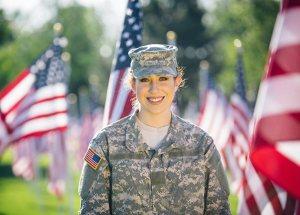 Happy military veteran woman