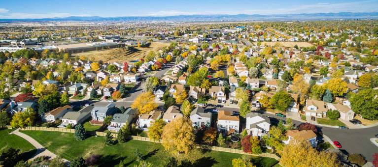 Aerial photo of neighborhood in Denver, CO