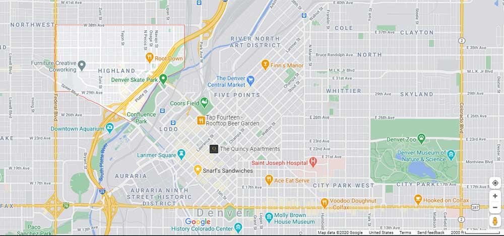 Highlands neighborhood just west of downtown Denver, CO.