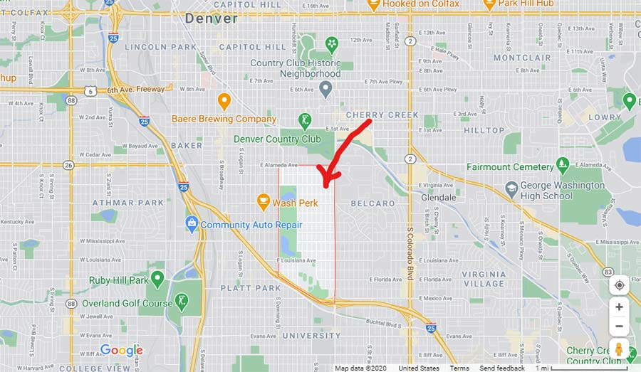 Washington park neighborhood in Denver, CO on Google maps.