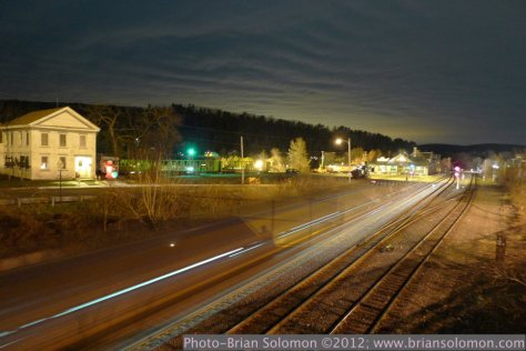 Railroads at night in Palmer, Massachusetts.