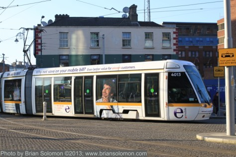 White tram near Bus Aras, Dublin. February 19, 2013. Canon 7D with 40mm pancake lens.