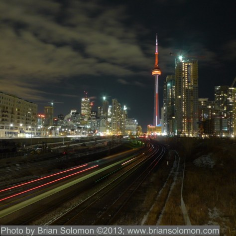 View from Bathurst Street, Toronto approaching Midnight on February 7, 2010. Lumix LX-3 time exposure.