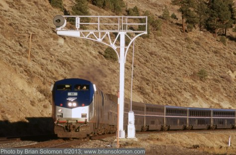Amtrak number 5 in the Truckee River Canyon near Boca Dam.