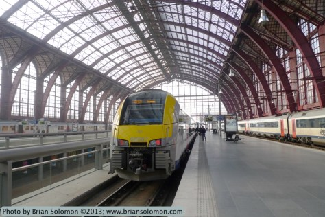 New SNCB electric multple-unit at Antwerpen Centraal, Belgium on March 22, 2013. Lumix LX-3.