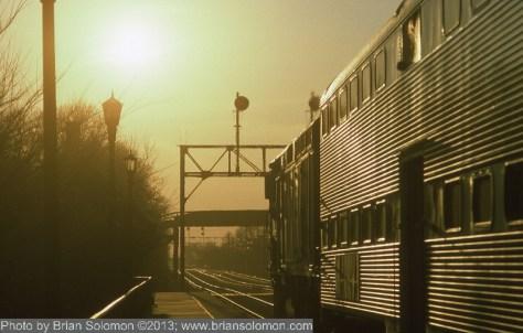 Metra train at Sunset